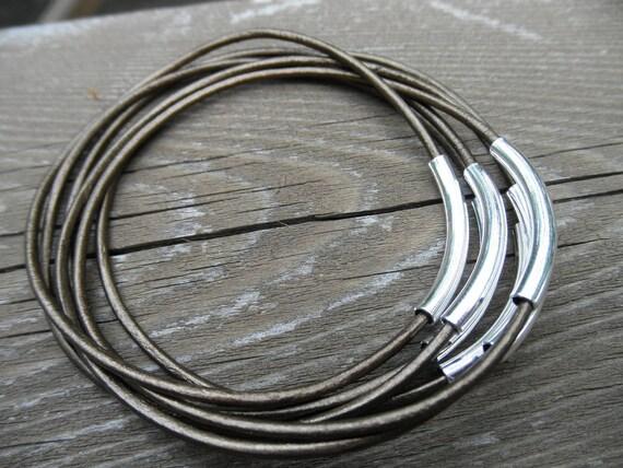 Set of 7 - Metallic Dark Bronze Leather Bangles with Silver Tube Beads