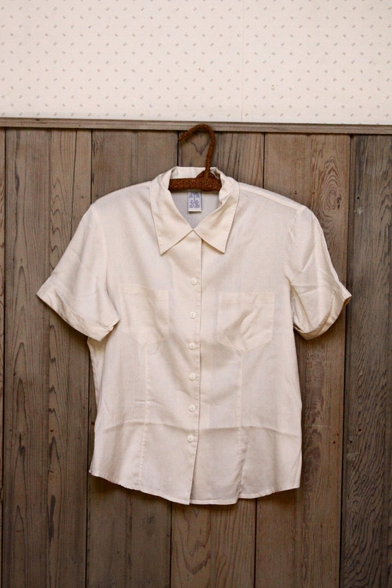 Silk Ivory Button Up Blouse with Front Pockets ( S )