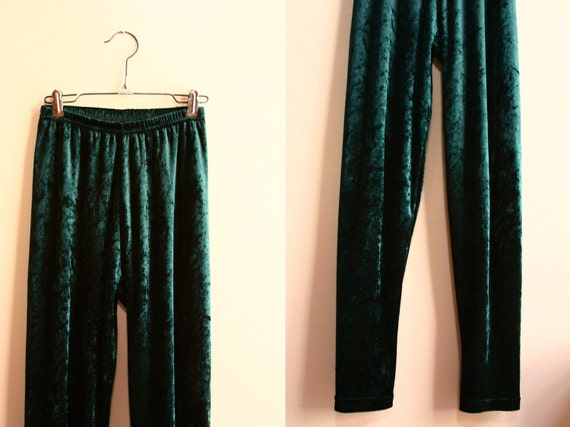1980s Emerald Green Skinny Leg Trousers // High Waist Crushed Velvet Leggings ( xs - s )