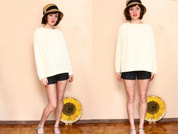 90s Cream Chunky Knit Sweater //  Ivory Fisherman Pullover ( m - l )