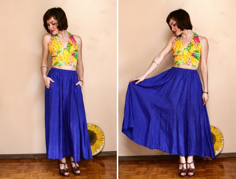 Vintage SILK Maxi Skirt // Full Flowy High Waist Skirt xs