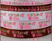 10Yards 3/8~7/8 inch (9mm~22mm) Birthday Party Girls Cupcake Candle Grosgrain Ribbon