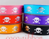 10 yards 7/8  Sparkle Silver Skull Crossbones Grosgrain Ribbon - 6 Colors