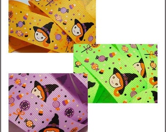 10 yards 7/8 inch 22mm Halloween Girl Witch Candy Grosgrain Ribbon