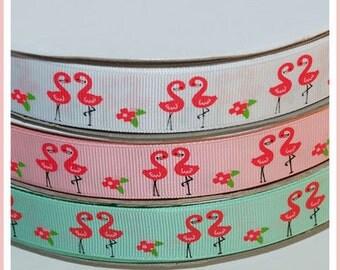 "10 Yards 7/8"" 22mm  Palm Beach Paradise Flamingo Grosgrain Ribbon"