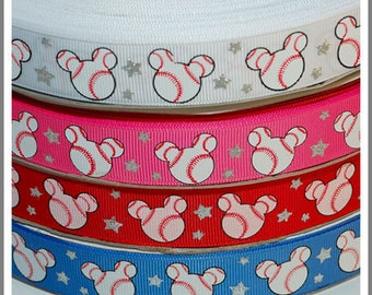10 Yards 7/8 22mm Sparkle Silver Bling Minnie Mouse Baseball Grosgrain Ribbon - Hot Pink / Red / Blue / White