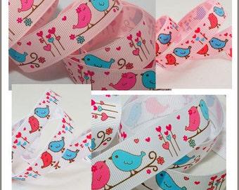 10 yards 3/8~ 7/8 inch 9mm~22mm Valentine Cute Heart Birds Grosgrain Ribbon