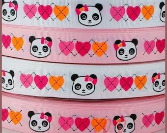 10 yards 7/8  22mm Panda Academy Valentine Heart Grosgrain Ribbon - White / Pink