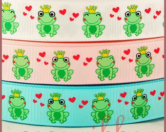 10 yards 7/8 inch 22mm Valentine Frog Prince Heart Grosgrain Ribbon
