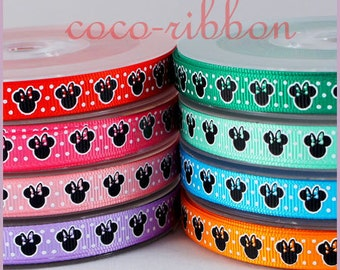 10 Yards 3/8 9mm Polka Dot Minnie Grosgrain Ribbon - 8 Colors