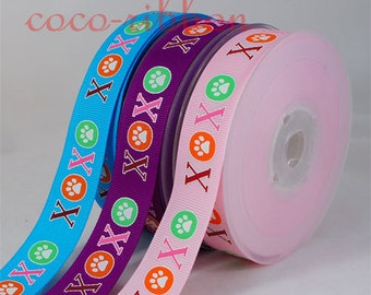 10yd 7/8 22mm XOXO puppy love Dog Cat Paw Grosgrain Ribbon - Pink / Purple / Blue