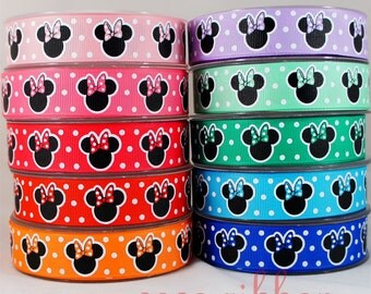 10/25 yards 7/8 inch 22mm Minnie With Polka Dot Bow Grosgrain Ribbon - 10 Colors