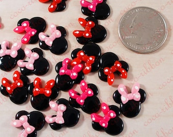 15mm Mouse Head With Polka Dot Bow Flatback Resin Cabochon - 12 pieces C18