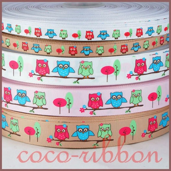 10 yards 7/8 3/8 Fall Homecoming Owl Floral Grosgrain Ribbon - White / Beige