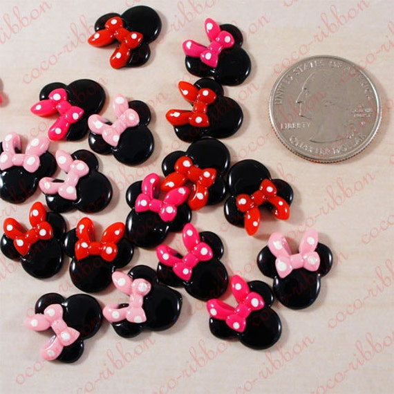 15mm 12pc Small Mixed Polka Dot Bow Minnie Mouse Flatback Resin Cabochon