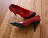 Red and Black Leather SIREN Heels