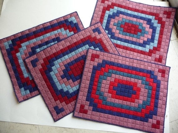 Placemats Vintage Handmade Plastic Canvas Yarn Placemats Set