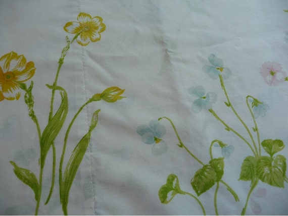 Pillowcase Vintage Springmaid Brand Pillowcase Flowers Bedding Linens Sewing Crafts Vintage Linens