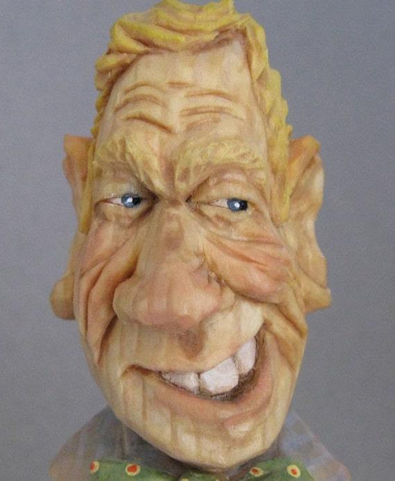 wine stopper caricature wood carving scandinavian