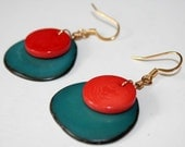 Kiara Earrings- tagua nut, orange, teal, gold