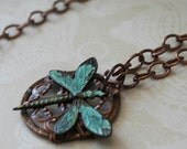 Reserved for Mndapanda Dragonfly Copper Filigree Necklace