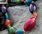 KIARA Brightly Colored Summer Tagua Nut Necklace in Gold with pink, turquoise, purple, green, orange