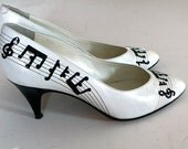 Vintage New-Wave / Ska  Black and White Applique Musical Note Pump/Heel size 7 - MarmaladeNYC