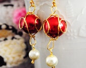 RESERVED: Terra Earrings III - Crimson and Cream Swarovski pearls in golden cage, 14k goldfill