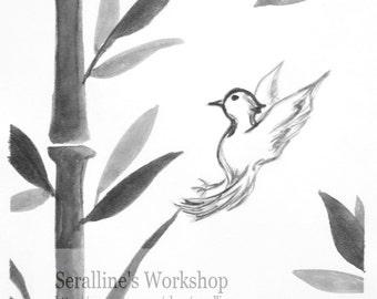 A Little Bird in a Bamboo Forest