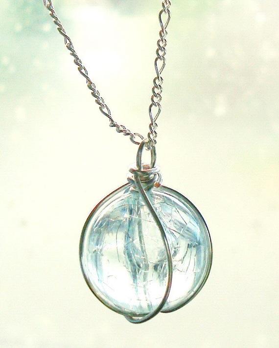 Holy - Sterling silver, aqua crackled glass, final fantasy necklace