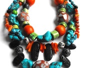 Super Chunky Island Girl Statement Necklace - One of a Kind, Bada Bling, KellyEMarra, Multi Strand, Chunky, Turquoise, Orange, Stone, Wood