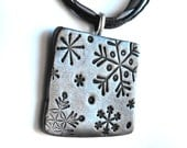 Snowflake Pendant on Black Necklace - Winter Necklaces, Snowflakes, Pewter Color, Polymer Clay, Winter Birthday, Gray