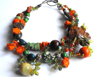 Jungle on Your Neck  - Natural Stone Statement Necklace - Bada Bling One of a Kind by Texas Artist/Designer Kelly E Marra - Unique Jewelry