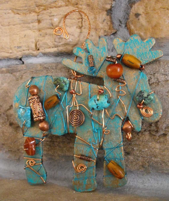 Unique Hostess Gift - One of a Kind Southwestern Moose Pendant - Mixed Media - Southwest Art Collector Gift, Woodland, Forest, Ornament