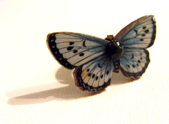 Woodland Butterfly Ring - Adjustable Ring Base - Sky Blue, White and Black - Womens Butterfly Jewelry, Spring Fashion, Gift Box, Boho Ring