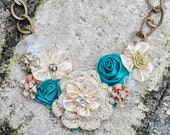 Turquoise Lace Floral Swarovski Crystal Pearl Bib Necklace