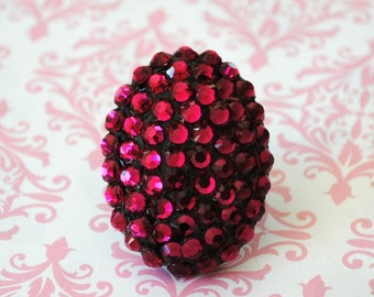 Swarovski Crystal Dome Ring Stunning Ruby Color