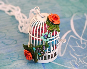 Sale Turquoise and Peach Crystal Filled Birdcage