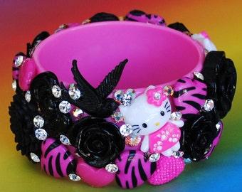Sale Kawaii Kitty Swarovski Crystal Bangle Bracelet