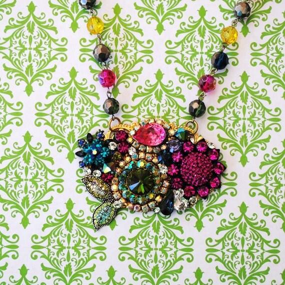 Stunning Crystal Floral Bib Pendant Necklace