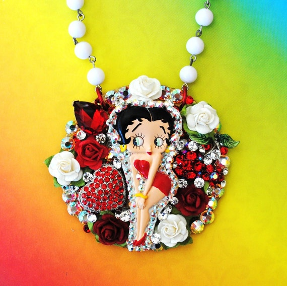 Betty Boop Pendant Necklace Swarovski Crystal