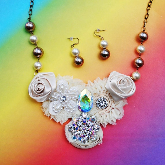 Sale Champagne Floral Crystal Bib Necklace and Earring Set