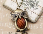 Wise Brown Owl on the Branch. Long Necklace with Howlite (VNL-11)
