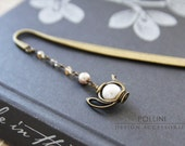 Vintage Teapot  Bookmark/ Letter Opener - Swaroski Pearls and Crystals