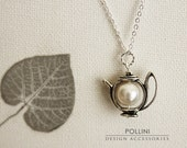 Teapot Necklace. Antique Silver Teapot with Swarovski Pearl. Pastel. Gift For Her (SNL-01)