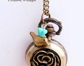 Antique Gold Turning Rose Pocket Watch Necklace Decorated with Little Birdie. Precious Time  Series (PW-45)