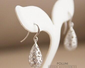 Filigree Teardrop Earrings. Matte Silver. Classic. Everyday Wear. (SER-25)