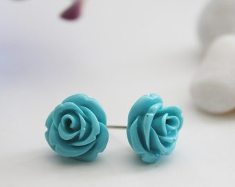 Rose Post Earrings. Teal (VER-05)