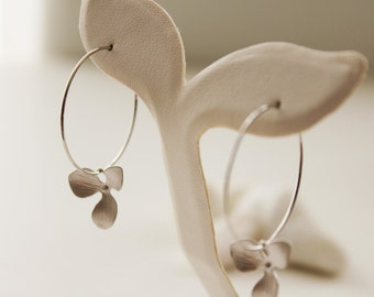 Orchid Hoop Earrings. Silver. Everday Wear. Gift For Her (SER-29)