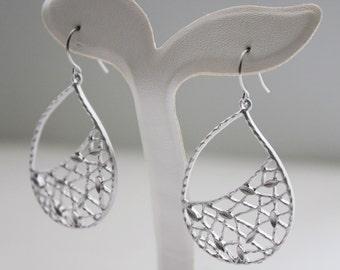 Silver Netted Teardrop Earrings. Modern Chic. Gift For Her. Everday Wear (SER-05)